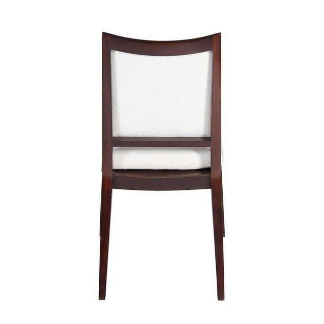 "Solid Mahogany frame back dining chair. Seat height-19"". Seat depth -17.5"". COM requirements: 2 yards. 5% up-charge for..."