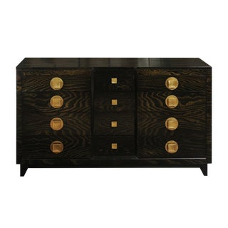 Sublime Restored Cerused Oak and Brass Commode by John Stuart, circa 1950 For Sale