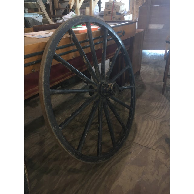 Primitive Large Black Wood Wagon Wheel - Image 2 of 5