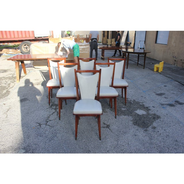 Set of 6 French Art Deco or Art Modern Solid Mahogany Dining Chairs Circa 1950s For Sale - Image 13 of 13