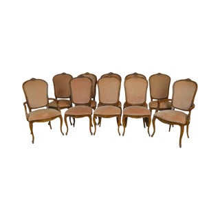 Century French Louis XV Style Set of 10 Cherry Fruit Wood Dining Chairs For Sale