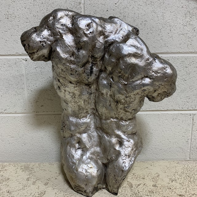 Vintage Mac Sculpture Silver Leaf Torso For Sale - Image 4 of 12