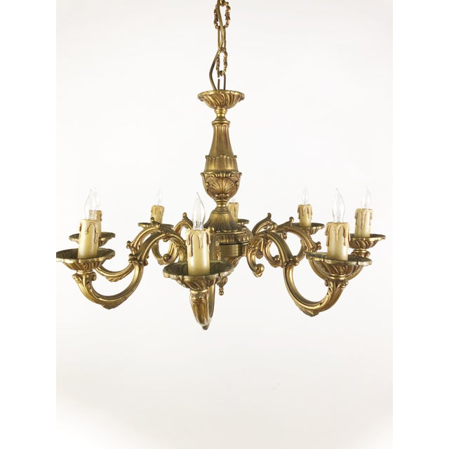 Mid 20th Century French 8 Arm Bronze Chandelier For Sale - Image 4 of 4