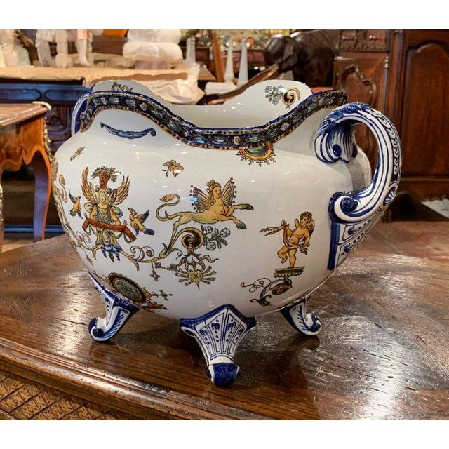 Ceramic 19th Century French Louis XV Hand Painted Porcelain Cache Pot Signed Gien For Sale - Image 7 of 11