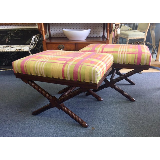 Fabulous pair of benches with dark X base legs and colorful pastel plaid cushion top! Sizable benches in excellent condition.