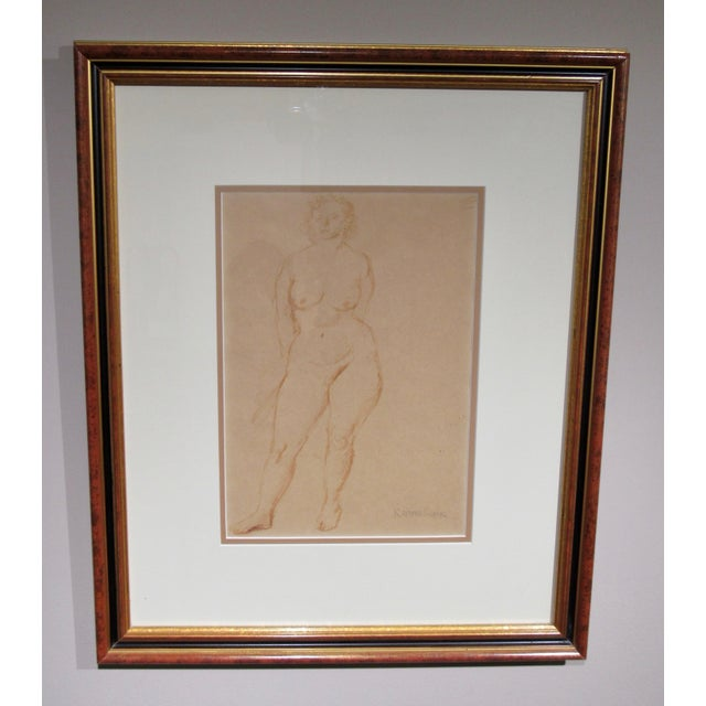 """""""Standing Nude"""" Hand Wash Drawing by Raphael Soyer For Sale - Image 4 of 13"""