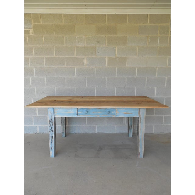 Reclaimed Thin Board Rustic Farm Dining Table - Image 2 of 8