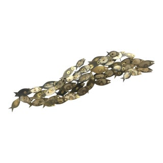 1960s Vintage Curtis Jere School of Fish Brass Brutalist Wall Sculpture For Sale