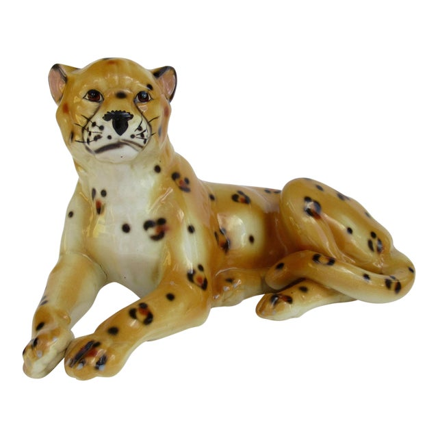 Hollywood Regency Italian Porcelain Ceramic Hand-Painted Leopard in Repose For Sale