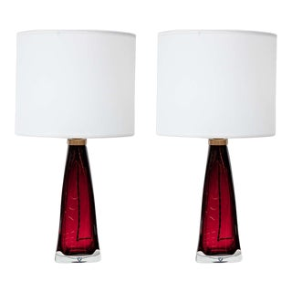 Pair of Red Orrefors Crystal Lamps For Sale