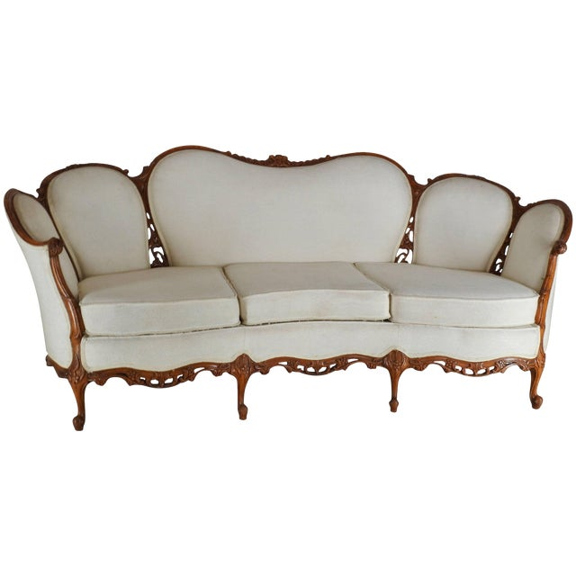 Early 19th Century French Victorian Fabric With Wood Sofa For Sale