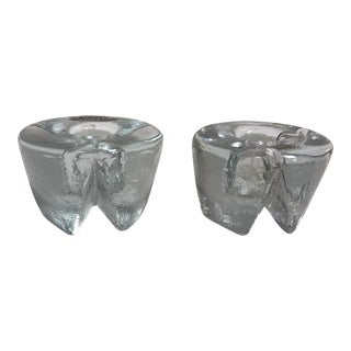 Mid 20th Century Blenko Ice-Look Candle Holders - a Pair For Sale