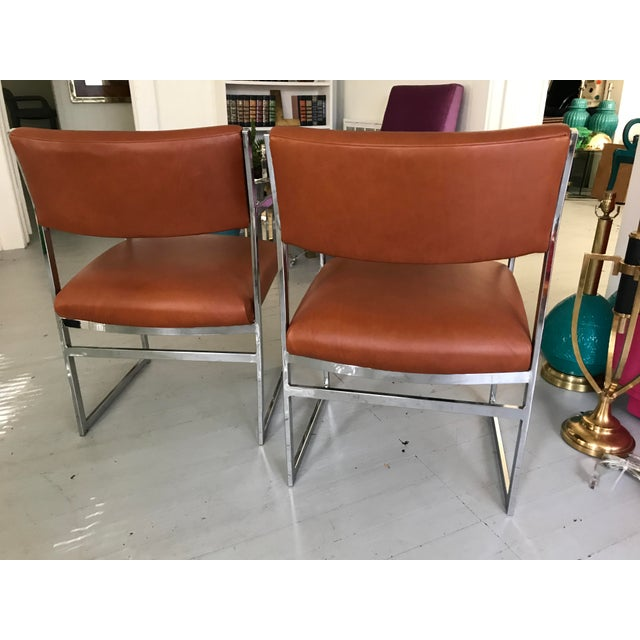 Chrome Flat-Bar Chairs in Leather Hide - A Pair - Image 5 of 5