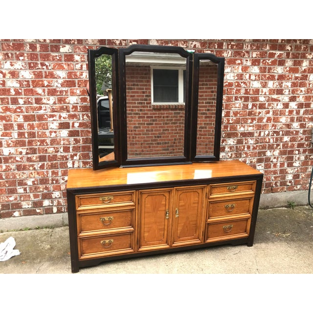 1970's Asian Nine Drawer Dresser With Tri-Fold Mirror For Sale - Image 12 of 13