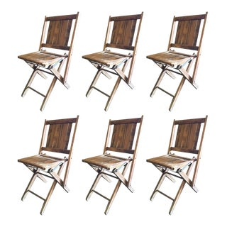 Set of Six Wood Folding Chairs For Sale