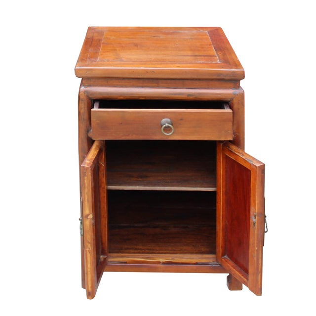 Elm Chinese Ming Style Republic China Brown Simple End Table Nightstand For Sale - Image 7 of 8