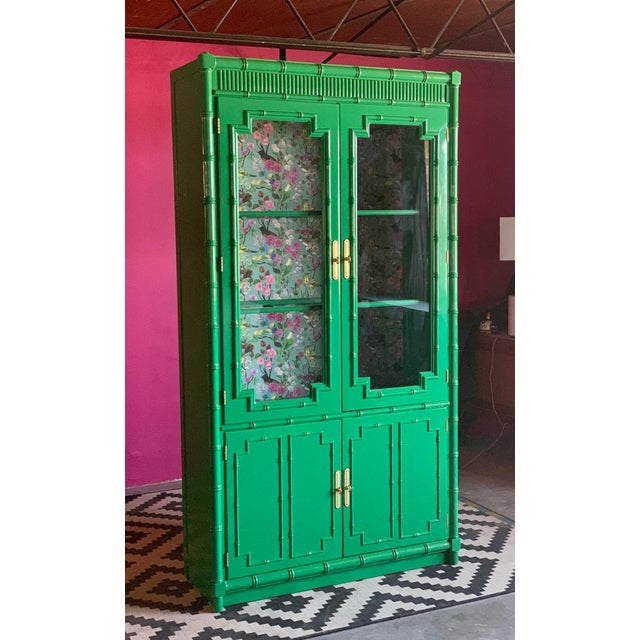 1960's Vintage Green Lacquered China Cabinet For Sale - Image 11 of 11
