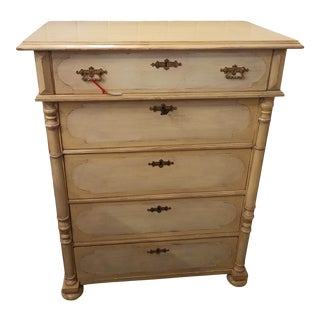 5 Drawer Antique Painted Victorian Chest of Drawers For Sale