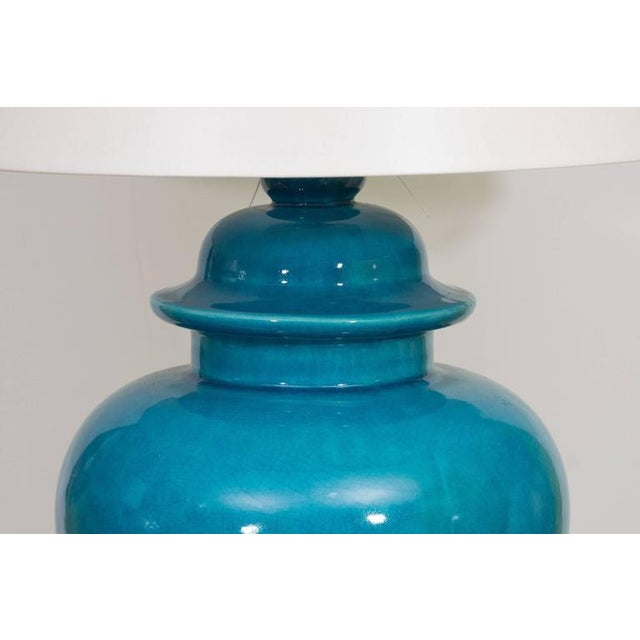 Ceramic Pair of Mid-Century Ceramic Blue Lamps For Sale - Image 7 of 9