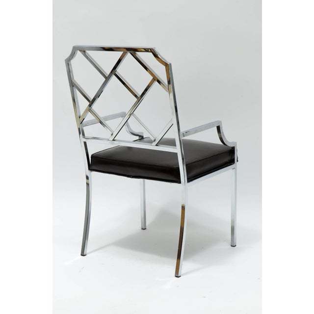 Metal 1970s Vintage Milo Baughman for Dia Chrome Lattice Back Dining Chairs- Set of 6 For Sale - Image 7 of 9