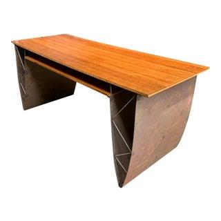Custom Made Metal and Wood Writing Desk For Sale