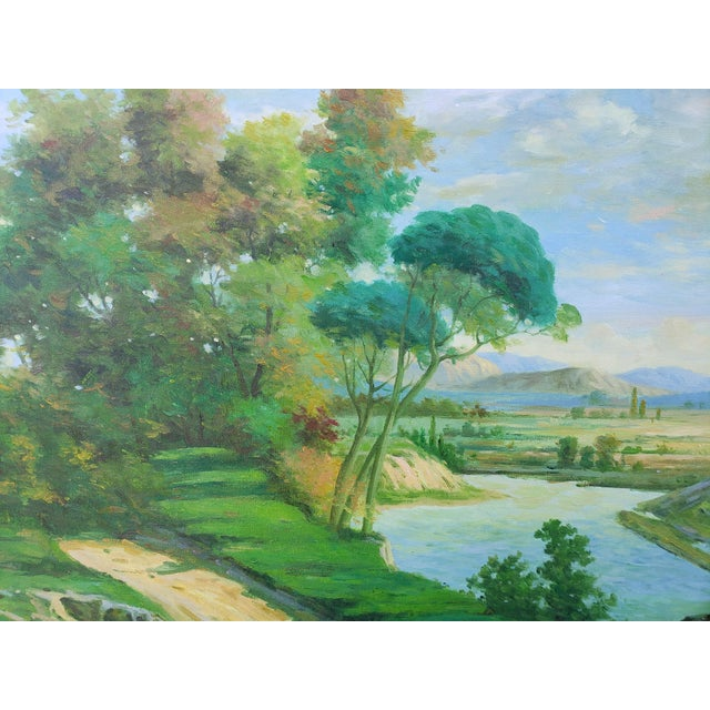 Canvas Late 20th Century Original Countryside River Landscape Oil Painting For Sale - Image 7 of 12