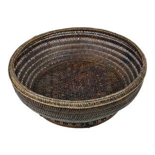 19th Century Chinese Rattan Basket For Sale