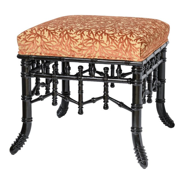 Asian Chinoiserie Black Faux Bamboo Wood Ottomans With Coral Velvet Motif, A-Pair For Sale - Image 3 of 9