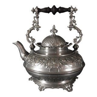 19th Century French Antique Repoussé Silver Plate Kettle For Sale