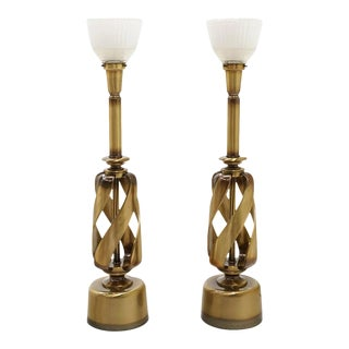 1960s Brass Table Lamps With Original Globes, Attributed to Stiffel - a Pair For Sale