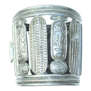 1940s Egyptian Revival Hinged Cuff For Sale