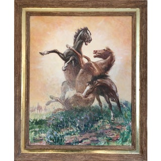 "Late 20th Century Sam Savitt ""Winner Take All"" Equestrian Painting For Sale"