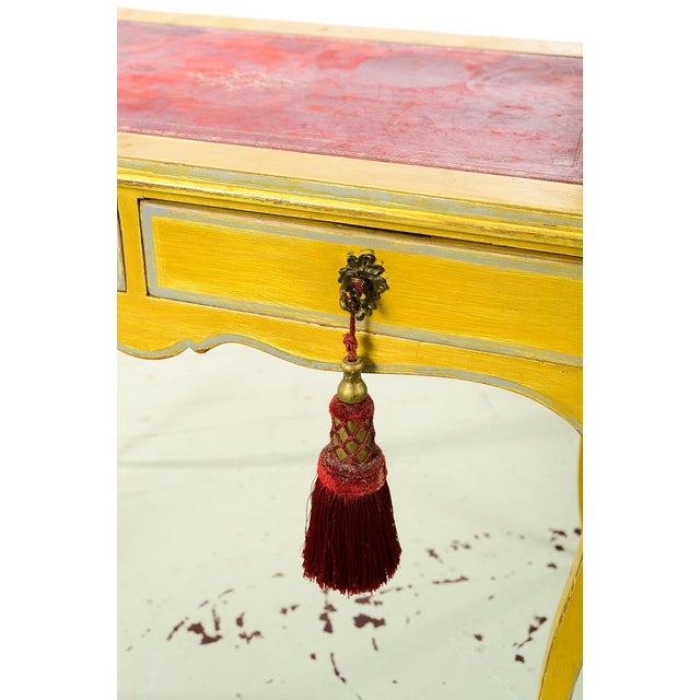 19th Century Venetian Beautiful Painted Petite Ladies Desk -Leather Top For Sale - Image 4 of 10