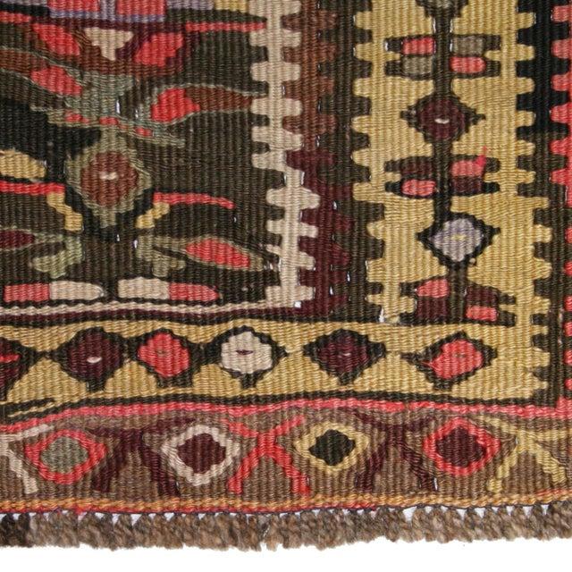 """Antique Senneh Kilim Rug - 3'7"""" 10'4"""" - Image 3 of 5"""