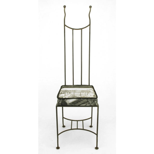 """Set of Eight Blackened, Wrought Iron, Tall """"Royal"""" Dining Chairs For Sale - Image 10 of 10"""