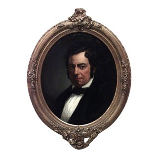 American Victorian gilt framed oval oil portrait painting of man with black tie For Sale