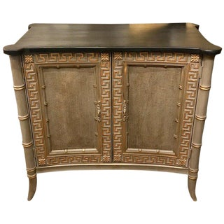 Regency Style Lacquered Faux Bamboo Cabinet For Sale