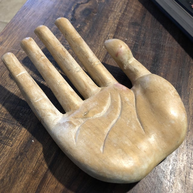Vintage Bohemian Carved Wood Human Hand Sculpture For Sale In Austin - Image 6 of 7