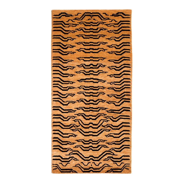 Black and Golden Tan Wool Tibetan Tiger Area Rug-3′ × 6′ For Sale