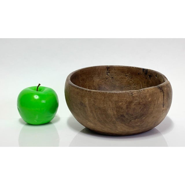 Brown 19th Century Hand Carved Burl Wood Bowl For Sale - Image 8 of 9