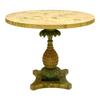 1960s Italian Cast Plaster Pineapple and Faux Marble Center Table For Sale