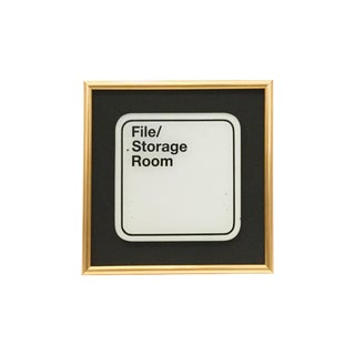 Late 20th Century Framed File/ Storage Room Sign For Sale