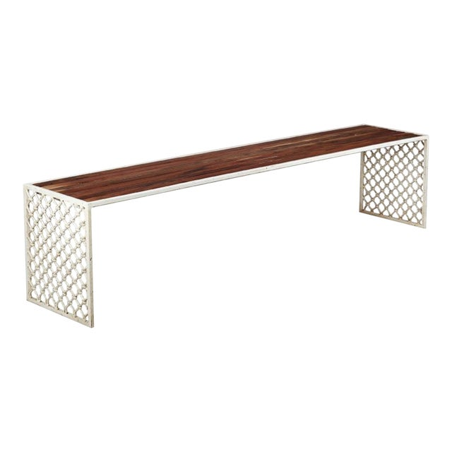 Jali Outdoor Bench With Wood Top - Large For Sale