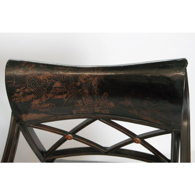 Gold Pair of Regency Style Lacquer Arm Chairs For Sale - Image 8 of 13