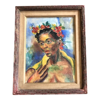 Original Vintage Mid Century Modern Female Watercolor Portrait Painting Signed Original Modernist Frame For Sale