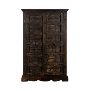 Antique Continental Iron Mounted Oak Two Door Armoire For Sale