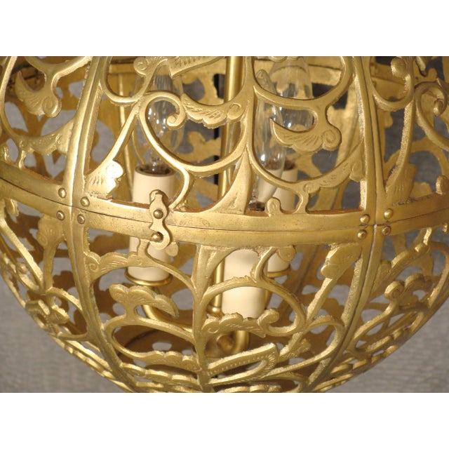 Vintage Brass Globe Light - Image 6 of 6