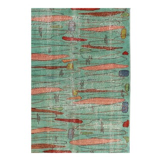 Vintage Mid-Century Modern Turkish Rug - 4′ × 6′7″ For Sale