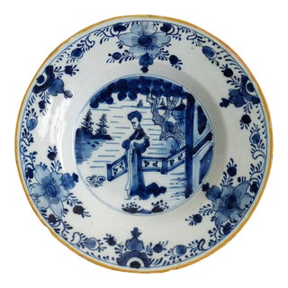 Antique 'Long Eliza' Dutch Delft Plate For Sale