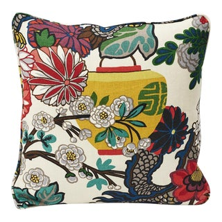 Schumacher Double-Sided Pillow in Chiang Mai Dragon Alabaster Linen Print For Sale